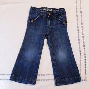 Baby Gap Wide Leg Denim Jeans Dark Wash Girls 2T